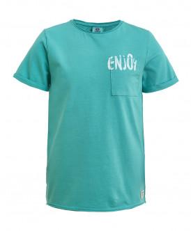 Бирюзовая трикотажная футболка Button Blue
