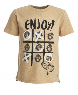 Охряная футболка с принтом