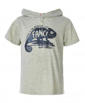 Бежевая футболка с капюшоном