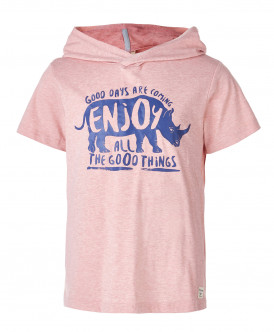Розовая футболка с капюшоном