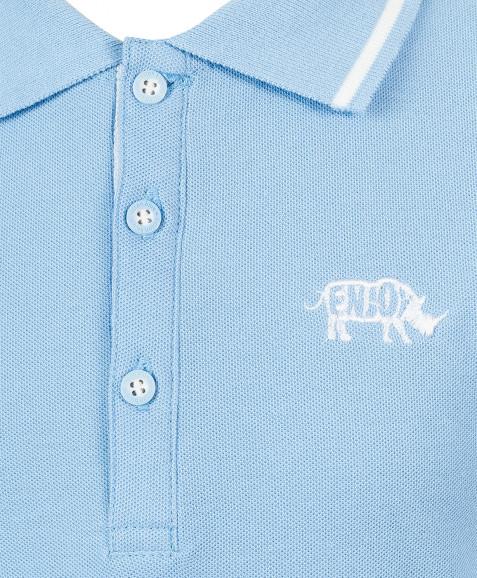 Голубое трикотажное поло