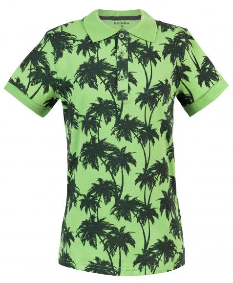Зеленое поло с орнаментом Пальмы Button Blue