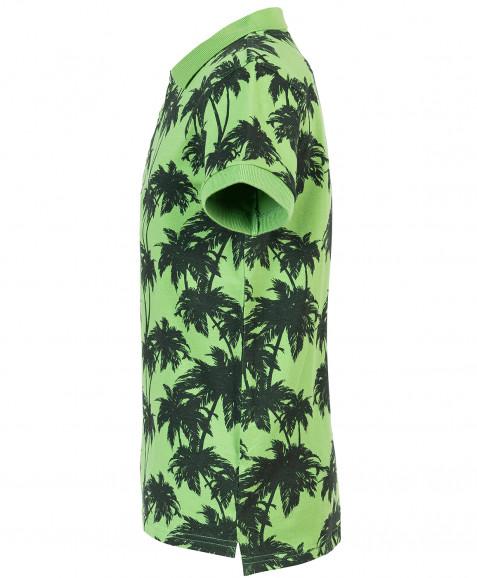 Зеленое поло с орнаментом Пальмы