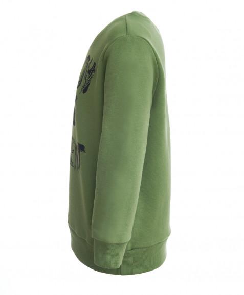 Зеленая толстовка из футера