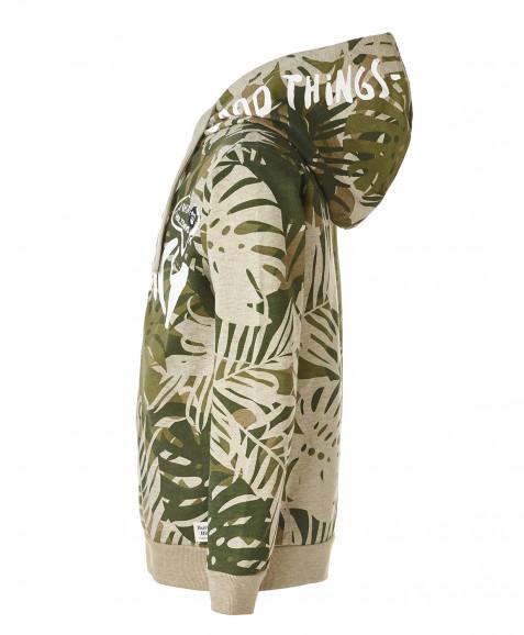 Толстовка хаки с орнаментом Пальмы