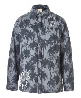Серая рубашка с орнаментом Пальмы