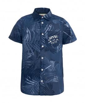 Синяя рубашка с орнаментом Пальмы