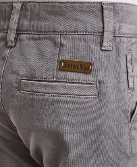 Серые брюки из твила Button Blue