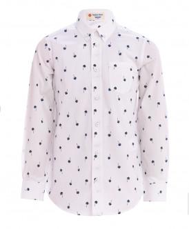 Белая рубашка с орнаментом Пальмы