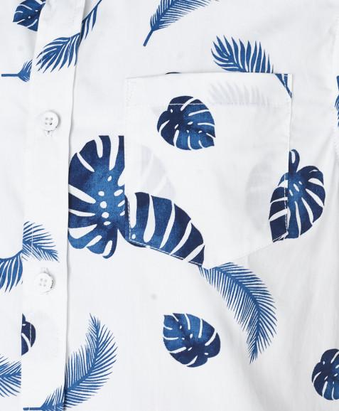 Белая рубашка с орнаментом Листья