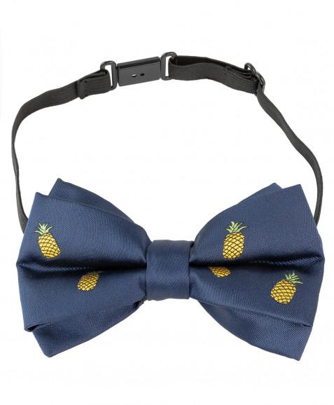 Синий галстук-бабочка с орнаментом Ананас