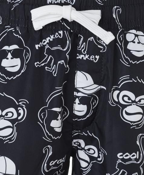 Черные плавательные шорты с орнаментом Животные