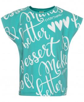 Ментоловая футболка с надписью