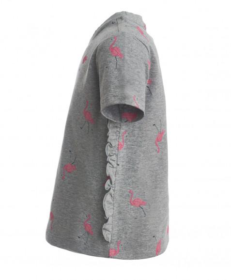 Серая футболка с орнаментом Фламинго