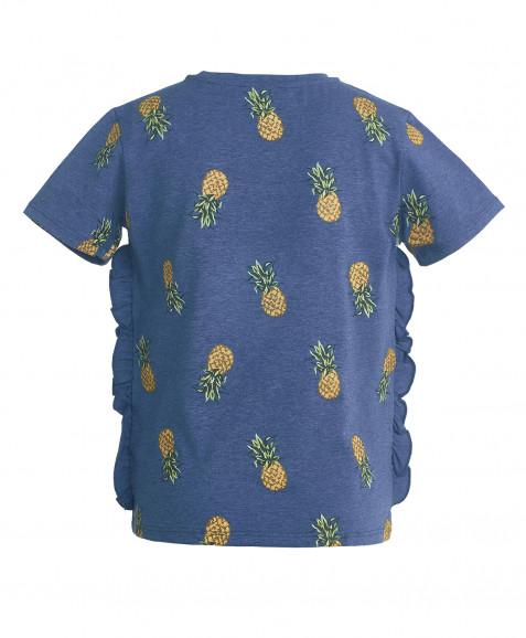 Синяя футболка с орнаментом Ананасы