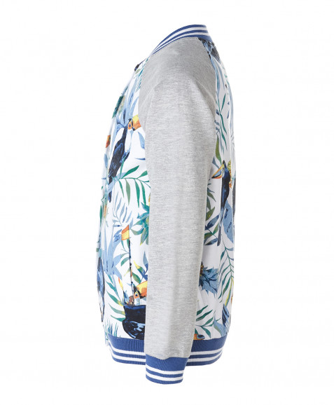 Белая толстовка с орнаментом Тукан