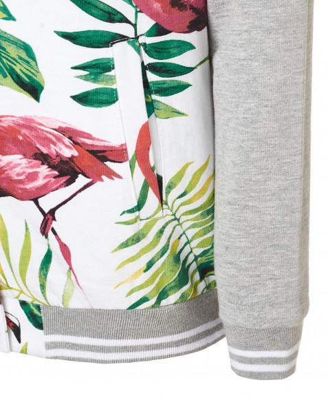 Белая толстовка с орнаментом Фламинго