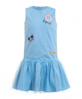Голубое платье с юбкой из сетки