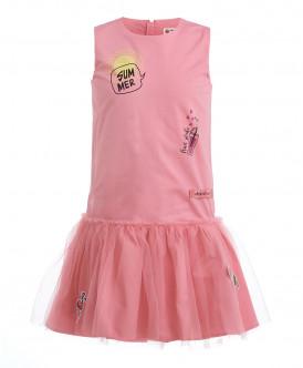 Розовое платье с юбкой из сетки