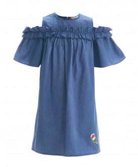 Голубое платье шамбре