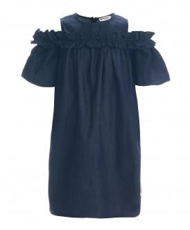Синее платье шамбре