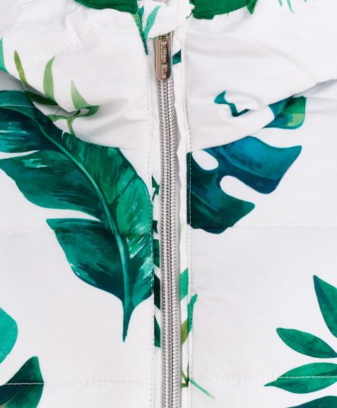 Белое демисезонное пальто с орнаментом Листья