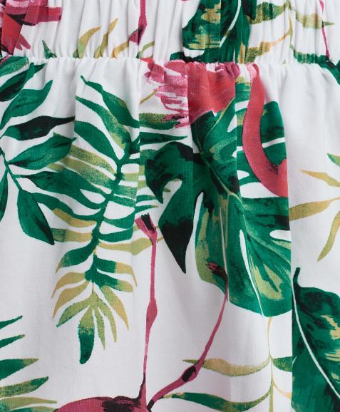 Белая юбка с орнаментом Фламинго