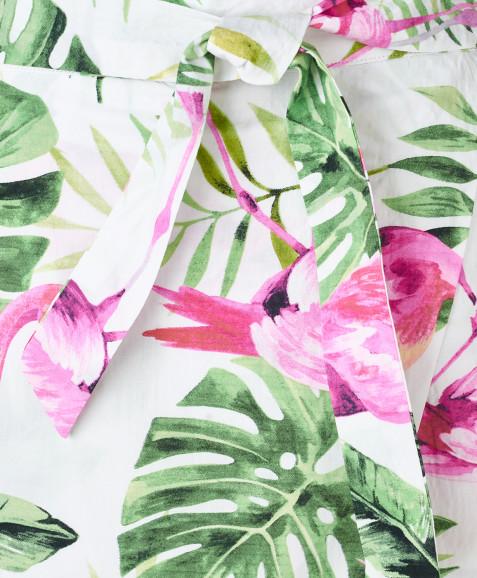 Белые шорты с орнаментом Фламинго