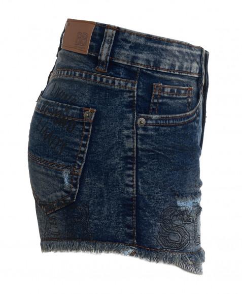 Синие джинсовые шорты с принтом