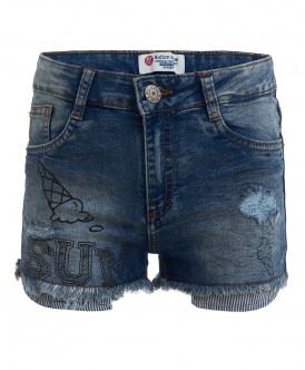 Голубые джинсовые шорты с принтом Button Blue