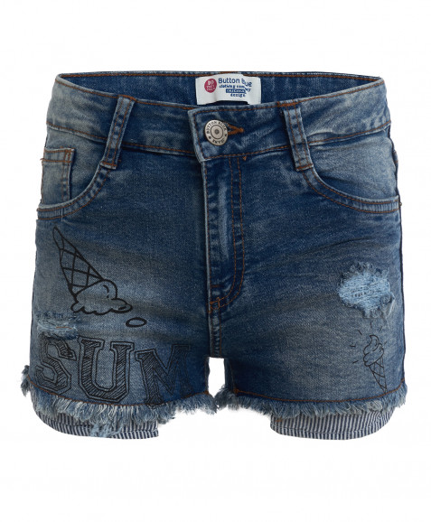 Голубые джинсовые шорты с принтом