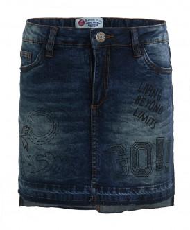 Синяя джинсовая юбка с принтами