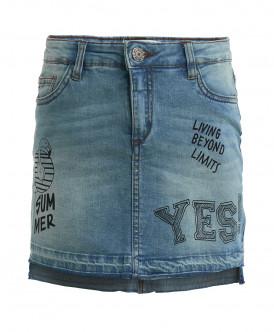 Голубая джинсовая юбка с принтами
