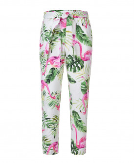 Белые брюки с орнаментом Фламинго