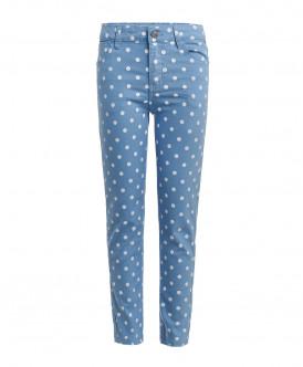 Голубые брюки в горошек