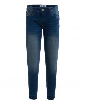 Синие джинсы слим с потертостями