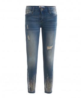 Голубые джинсы с пайетками