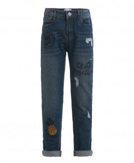 Синие джинсы-бойфренды