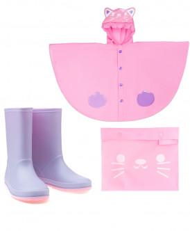 Комплект дождевик и резиновые сапоги Котик