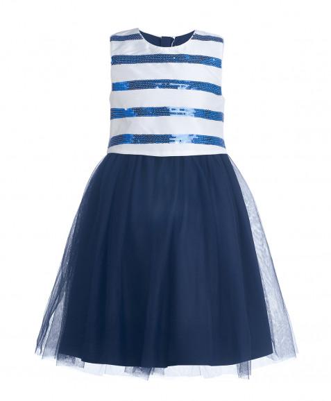 Синее нарядное платье с пайетками