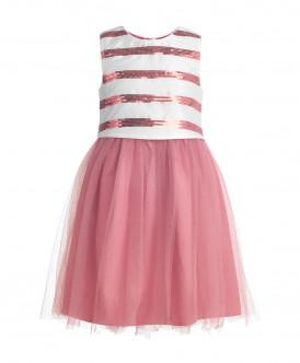 Розовое нарядное платье с пайетками