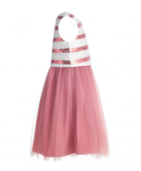 Розовое нарядное платье с пайетками Button Blue