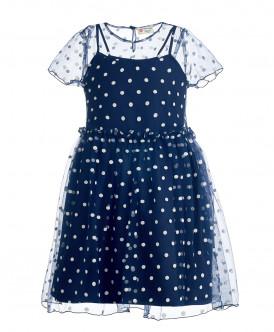 Синее платье в горох