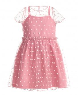 Розовое нарядное платье в горошек