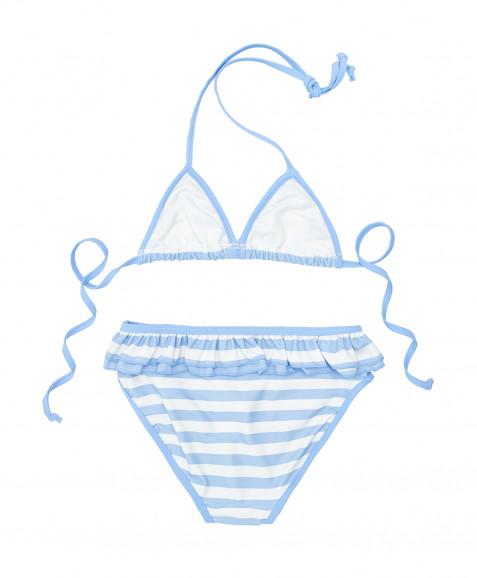 Белый купальник в полоску