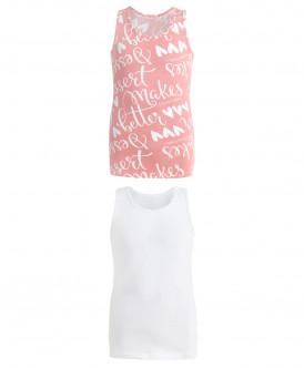 Комплект из 2 маек, белая и розовая