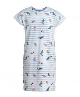 Белая ночная сорочка в полоску