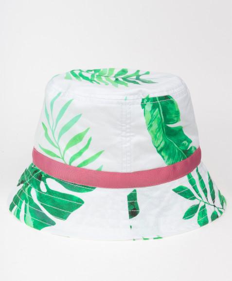 Белая панама с орнаментом Листья