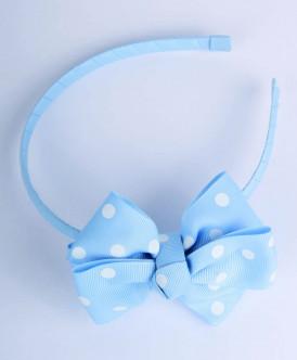 Голубой ободок в белый горошек