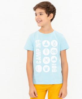 Голубая футболка с принтом 120BBBC12011800 фото